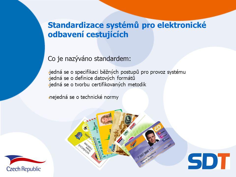 Standardizace systémů pro elektronické odbavení cestujících Co je nazýváno standardem:  jedná se o specifikaci běžných postupů pro provoz systému  jedná se o definice datových formátů  jedná se o tvorbu certifikovaných metodik  nejedná se o technické normy