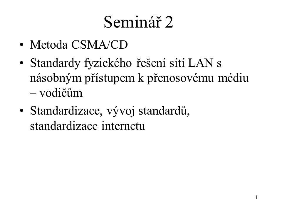 1 Seminář 2 Metoda CSMA/CD Standardy fyzického řešení sítí LAN s násobným přístupem k přenosovému médiu – vodičům Standardizace, vývoj standardů, stan