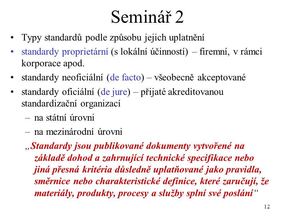 12 Seminář 2 Typy standardů podle způsobu jejich uplatnění standardy proprietární (s lokální účinností) – firemní, v rámci korporace apod. standardy n