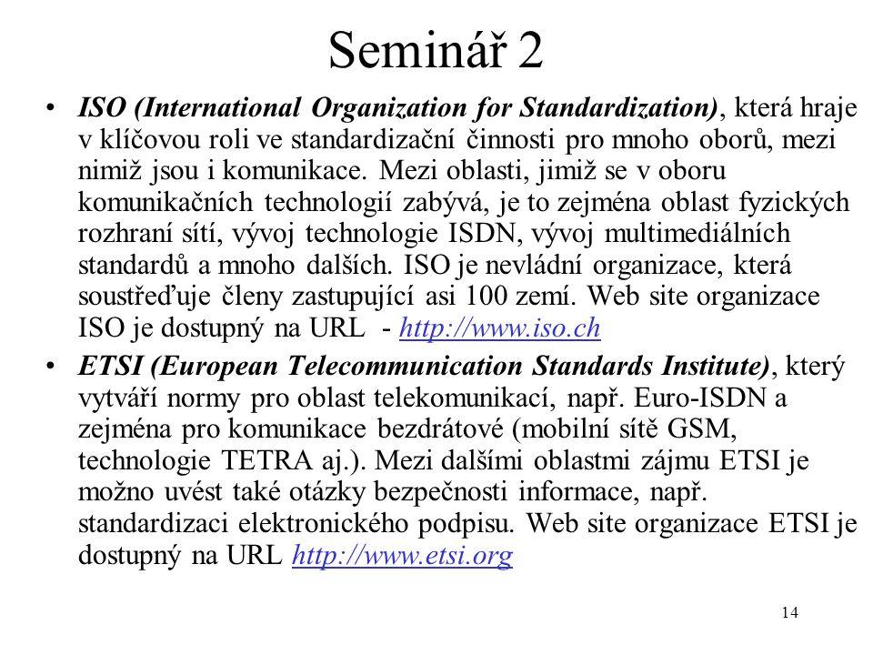 14 Seminář 2 ISO (International Organization for Standardization), která hraje v klíčovou roli ve standardizační činnosti pro mnoho oborů, mezi nimiž