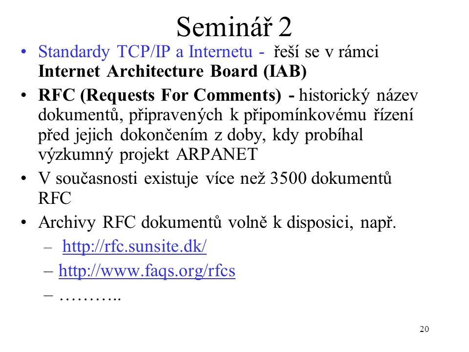 20 Seminář 2 Standardy TCP/IP a Internetu - řeší se v rámci Internet Architecture Board (IAB) RFC (Requests For Comments) - historický název dokumentů