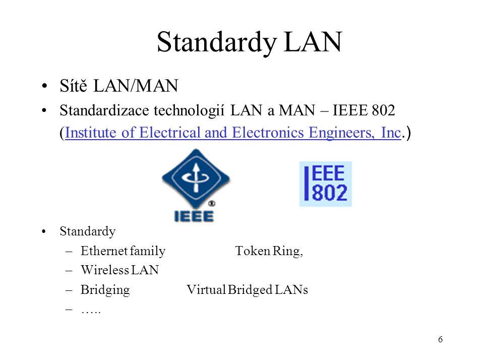 17 Seminář 2 IEEE (Institute of Electrical and Electronics Engineers) je profesní organizaci, původně založenou v USA, která se zabývá standardy pro oblast technologií síťových přenosů (viz např.specifikace IEEE 802.3 pro lokální počítačové sítě).