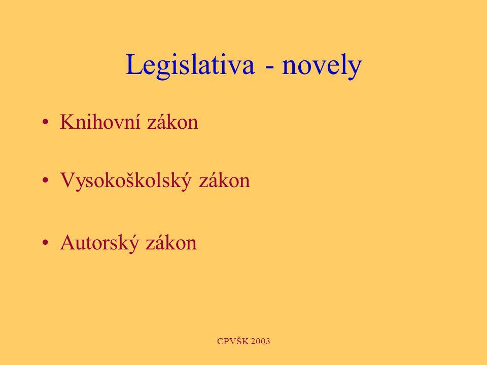 CPVŠK 2003 Legislativa - novely Knihovní zákon Vysokoškolský zákon Autorský zákon
