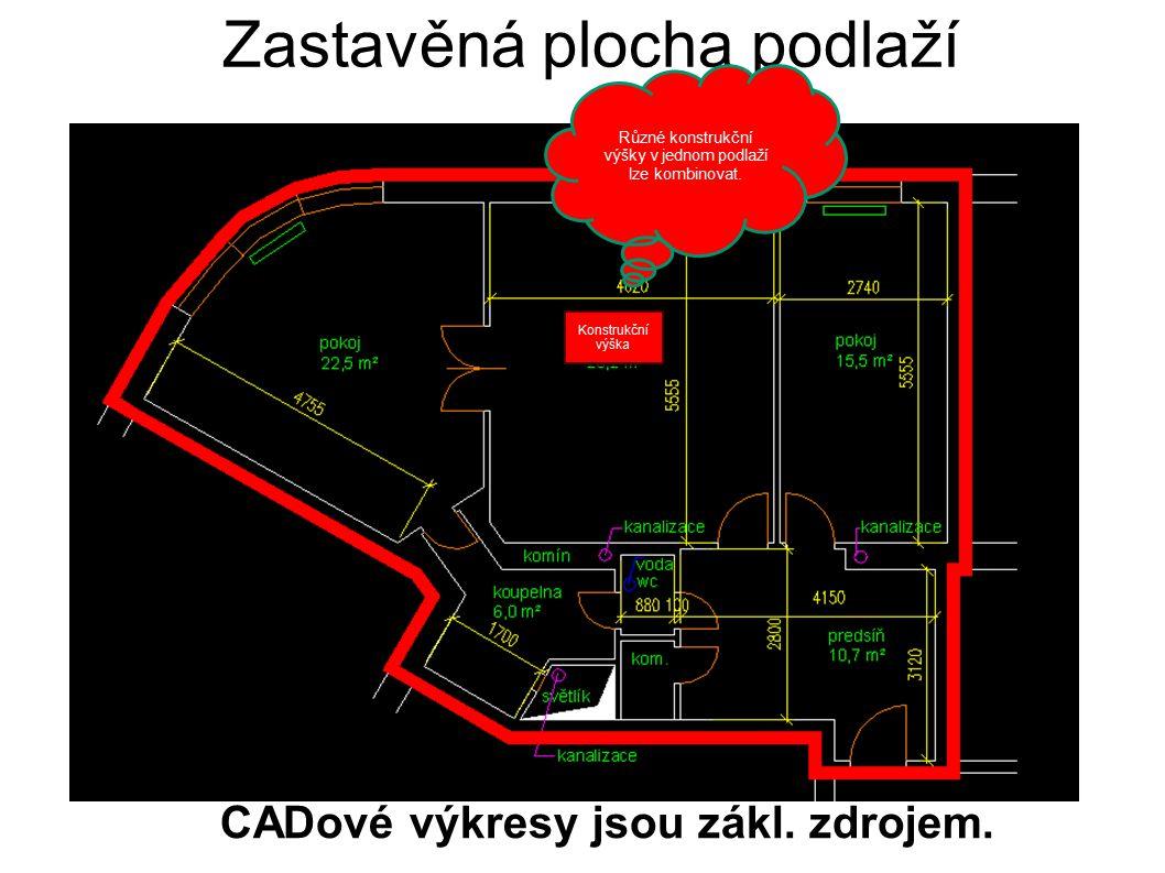 Zastavěná plocha podlaží Built up area is derived from FL Layer CADové výkresy jsou zákl. zdrojem. Konstrukční výška Různé konstrukční výšky v jednom
