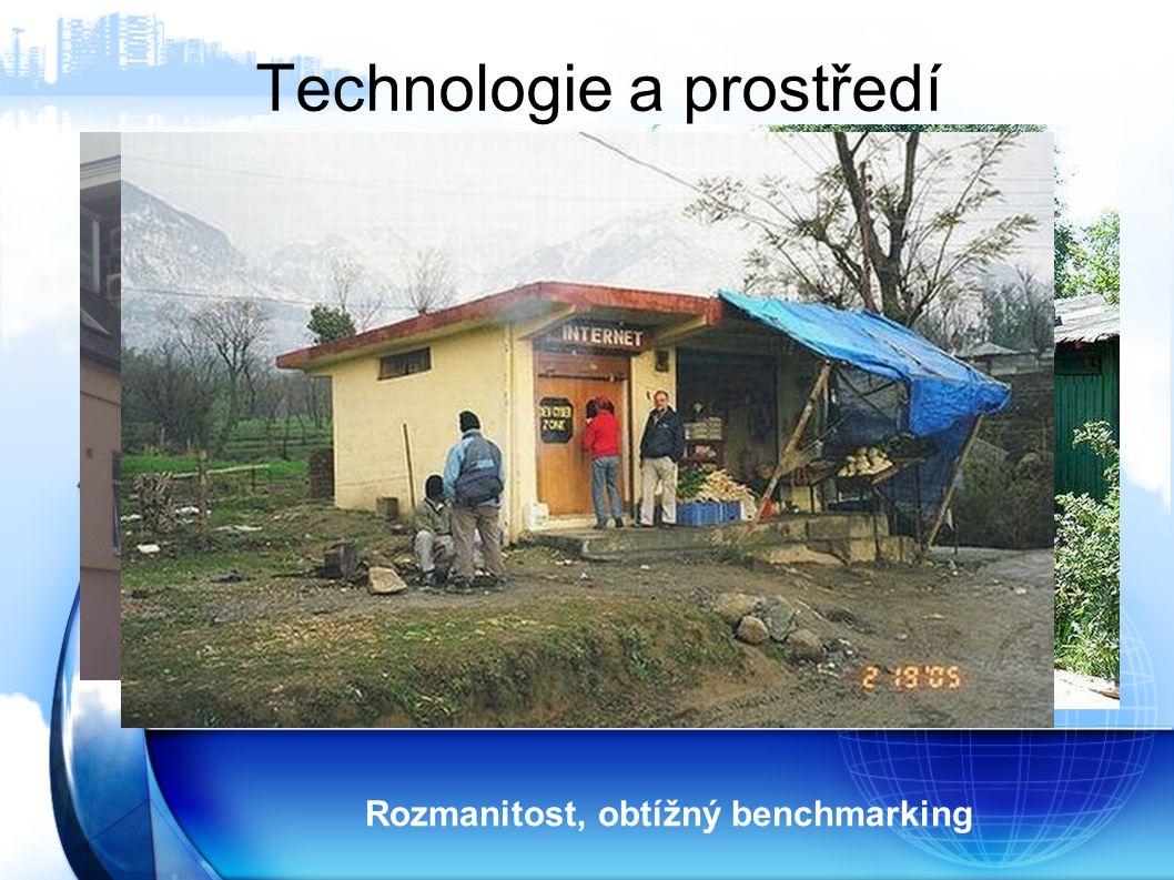 Technologie a prostředí Rozmanitost, obtížný benchmarking