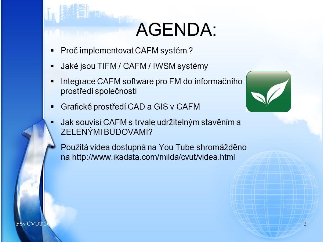 AGENDA:  Proč implementovat CAFM systém ?  Jaké jsou TIFM / CAFM / IWSM systémy  Integrace CAFM software pro FM do informačního prostředí společnos