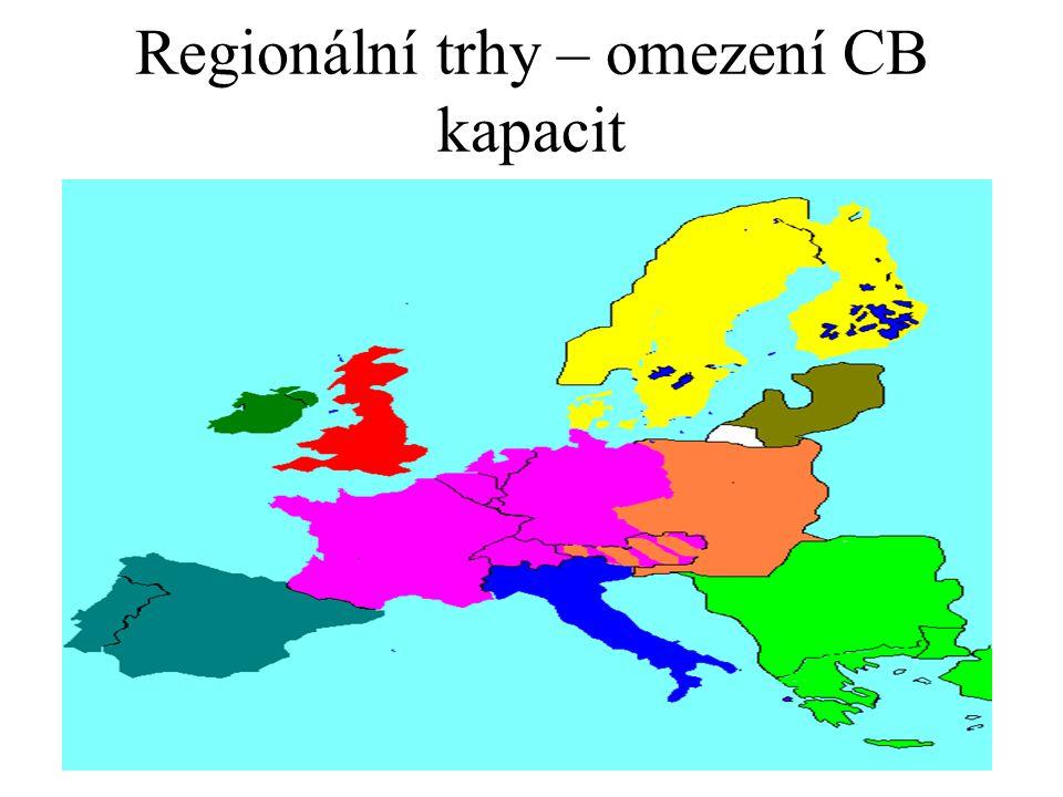 Regionální trhy – omezení CB kapacit