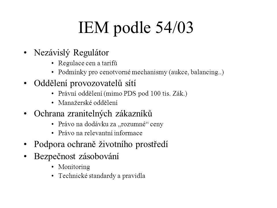 IEM podle 54/03 Rovné podmínky přístupu na trh Výrobci –Rovný přístup k povolení na výstavbu – autorizace –Veřejné soutěže na nové kapacity pro celou EU Odběratelé –Výběr dodavatele – od 1.7.04 všichni mimo domácností –Od 1.7.2007 - všichni Role TSO Přiměřený Rozvoj a provoz PS Rovný přístup k sítím Řízení toků a zajištění rovnováhy (systémové služby)