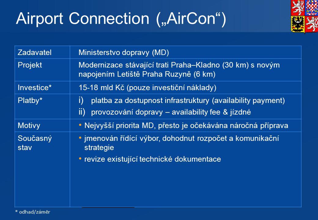 """12 Rychlodráha: Praha centrum – Letiště – Kladno 30 km existující železnice + 6 km nové spojení PRAHA Airport Connection (""""AirCon"""") * odhad/záměr Zada"""