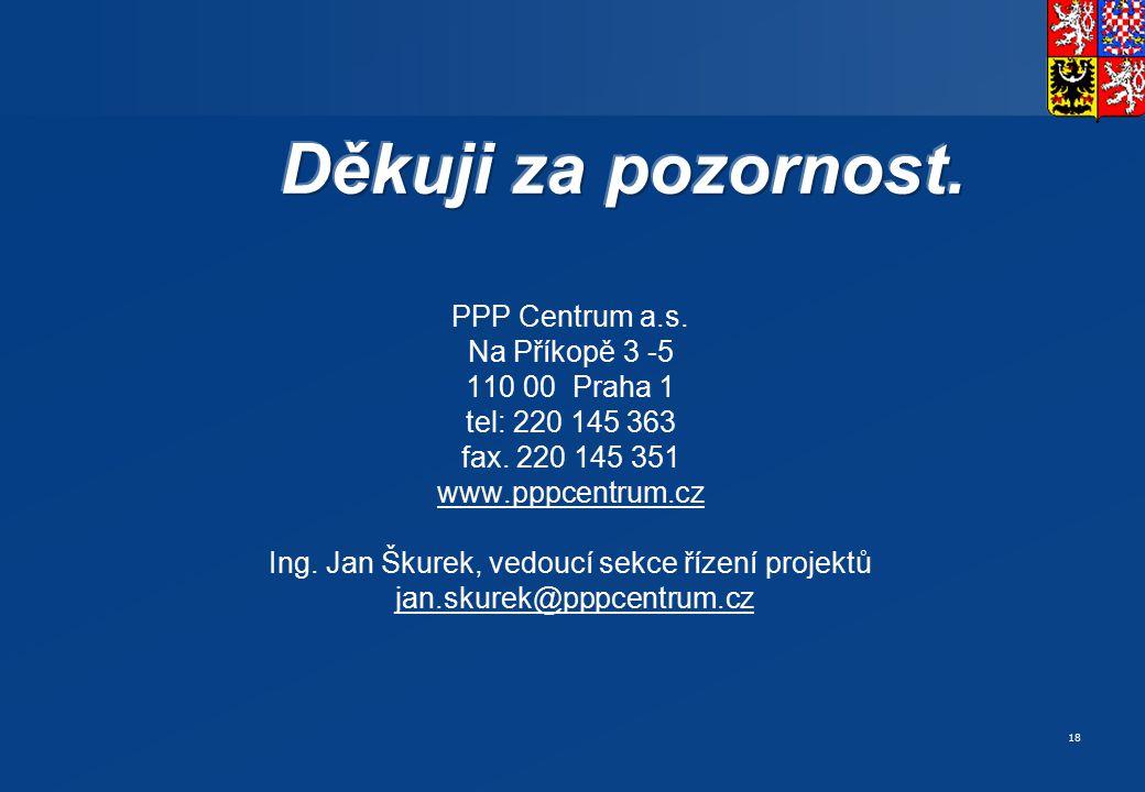 18 PPP Centrum a.s. Na Příkopě 3 -5 110 00 Praha 1 tel: 220 145 363 fax. 220 145 351 www.pppcentrum.cz Ing. Jan Škurek, vedoucí sekce řízení projektů