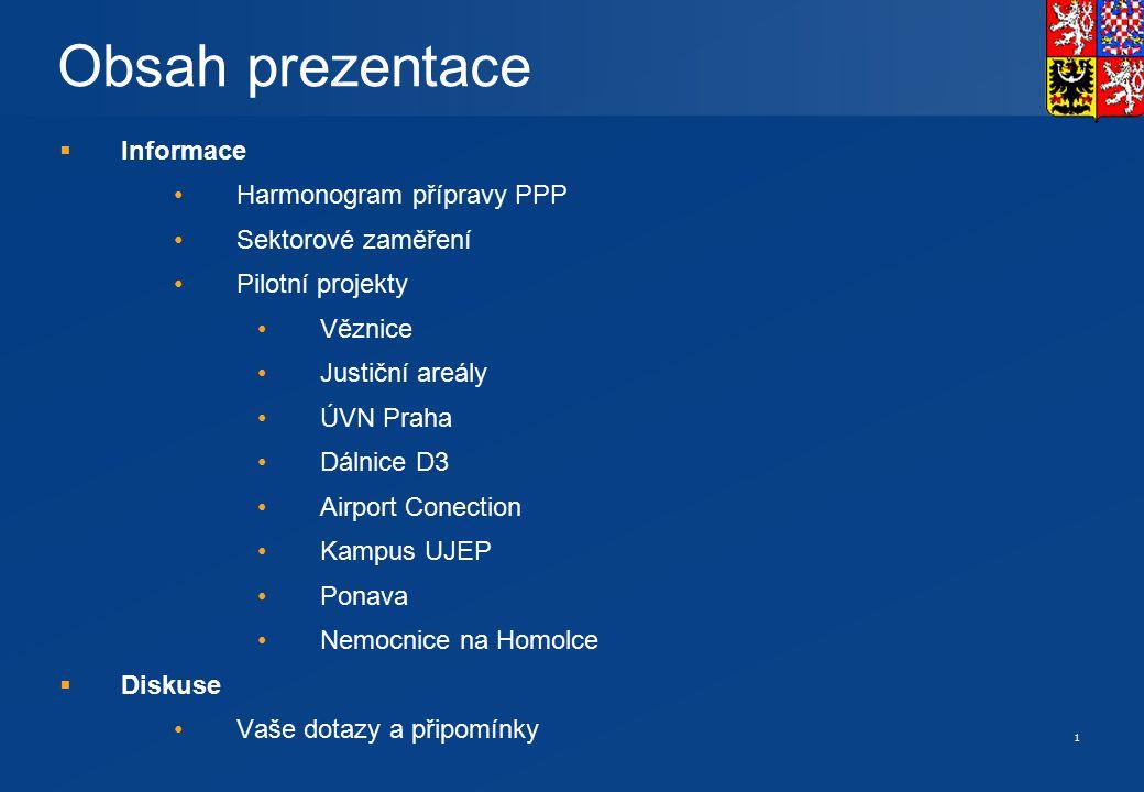 1 Obsah prezentace  Informace Harmonogram přípravy PPP Sektorové zaměření Pilotní projekty Věznice Justiční areály ÚVN Praha Dálnice D3 Airport Conec