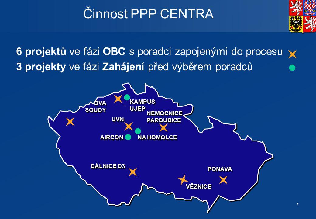 5 6 projektů ve fázi OBC s poradci zapojenými do procesu 3 projekty ve fázi Zahájení před výběrem poradců Činnost PPP CENTRA UVN VĚZNICE AIRCON NA HOM