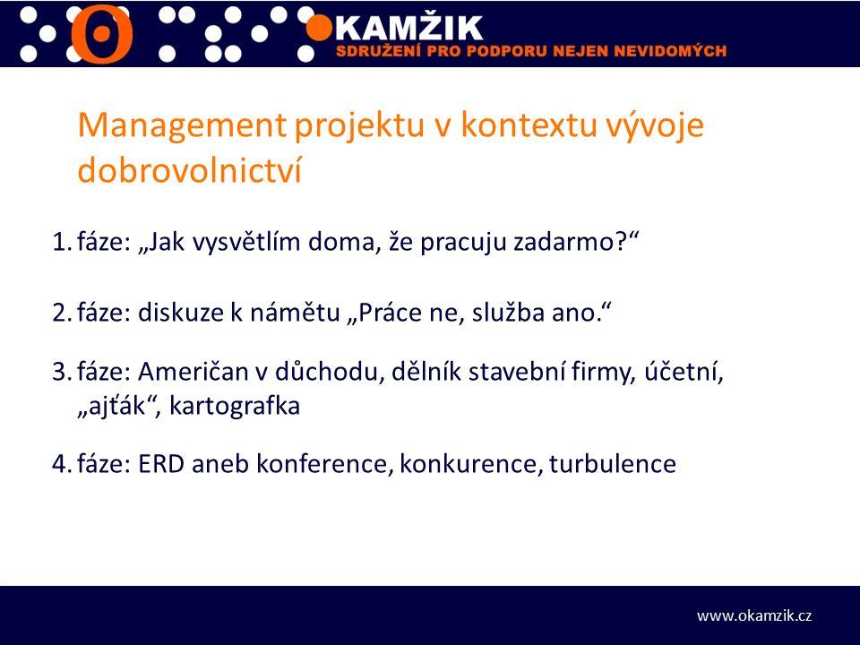 """Management projektu v kontextu vývoje dobrovolnictví 1.fáze: """"Jak vysvětlím doma, že pracuju zadarmo 2.fáze: diskuze k námětu """"Práce ne, služba ano. 3.fáze: Američan v důchodu, dělník stavební firmy, účetní, """"ajťák , kartografka 4.fáze: ERD aneb konference, konkurence, turbulence www.okamzik.cz"""