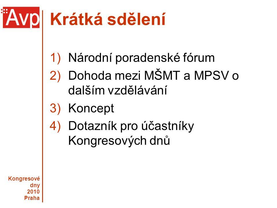Kongresové dny 2010 Praha Národní poradenské fórum Mezirezortní poradní skupina pro oblast poradenství k volbě povolání, vzdělávací a profesní dráhy v celoživotní perspektivě.