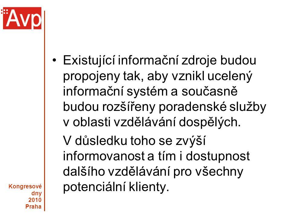 Kongresové dny 2010 Praha Existující informační zdroje budou propojeny tak, aby vznikl ucelený informační systém a současně budou rozšířeny poradenské služby v oblasti vzdělávání dospělých.