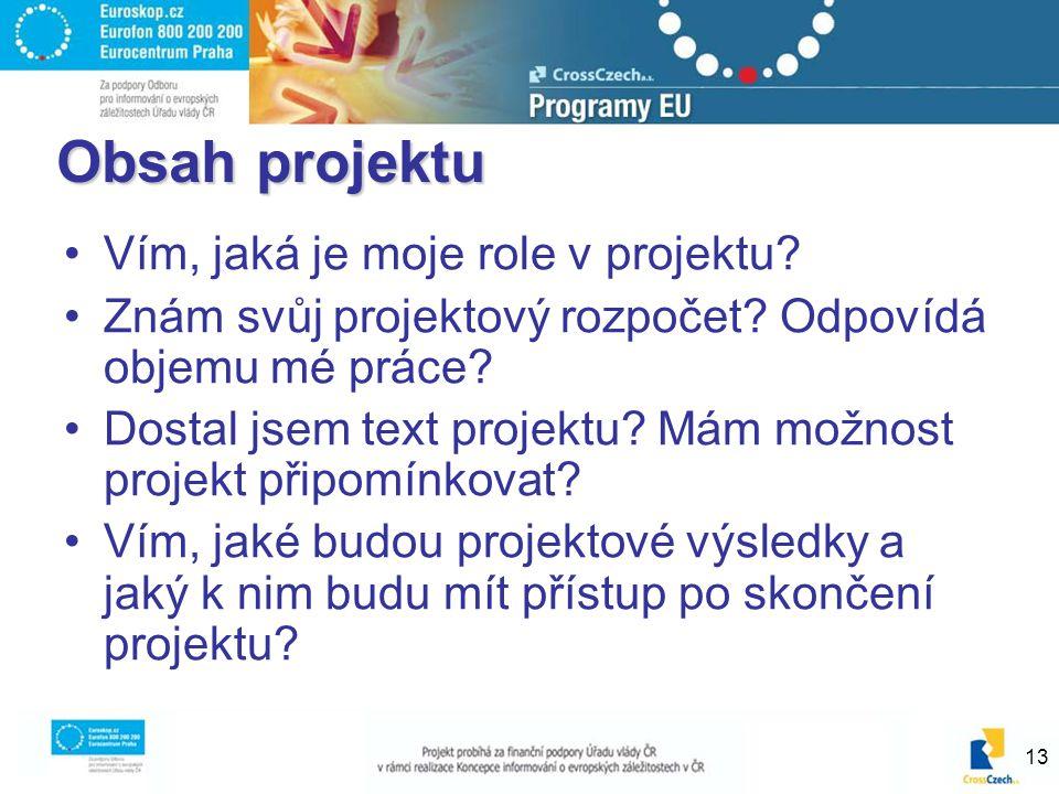 13 Obsah projektu Vím, jaká je moje role v projektu.