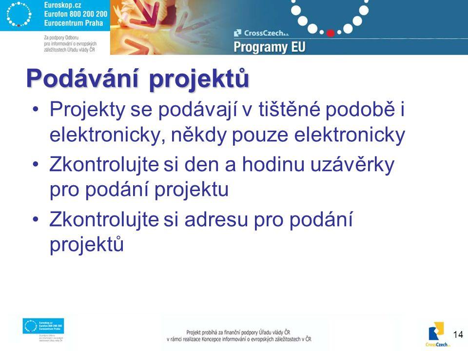 14 Podávání projektů Projekty se podávají v tištěné podobě i elektronicky, někdy pouze elektronicky Zkontrolujte si den a hodinu uzávěrky pro podání projektu Zkontrolujte si adresu pro podání projektů