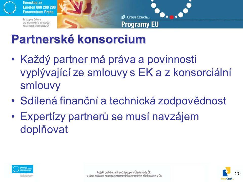20 Partnerské konsorcium Každý partner má práva a povinnosti vyplývající ze smlouvy s EK a z konsorciální smlouvy Sdílená finanční a technická zodpovědnost Expertízy partnerů se musí navzájem doplňovat