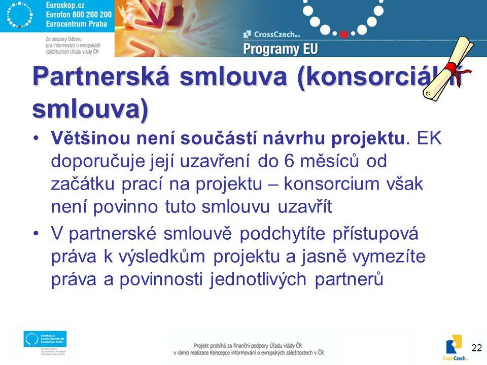 22 Partnerská smlouva (konsorciální smlouva) Většinou není součástí návrhu projektu.