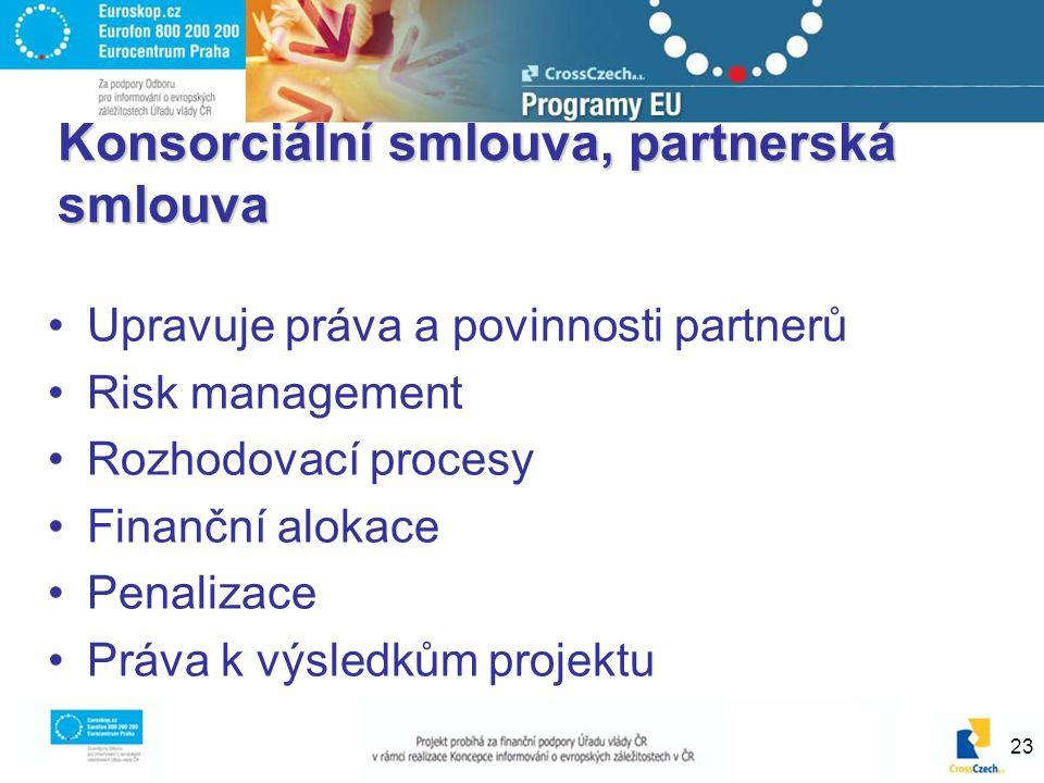 23 Konsorciální smlouva, partnerská smlouva Upravuje práva a povinnosti partnerů Risk management Rozhodovací procesy Finanční alokace Penalizace Práva k výsledkům projektu