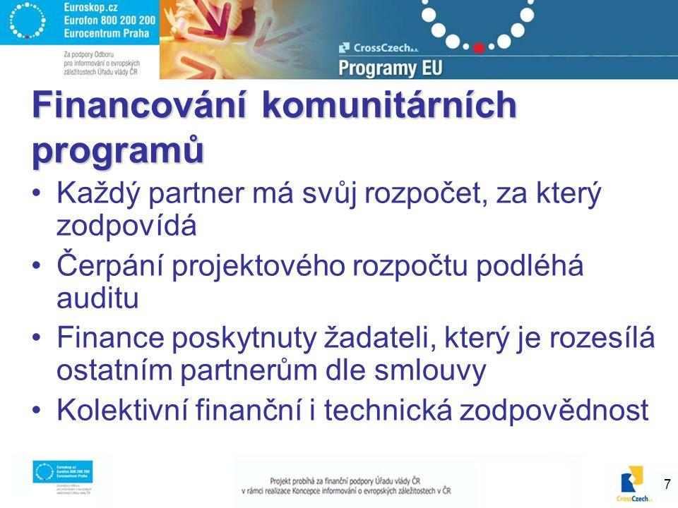 7 Financování komunitárních programů Každý partner má svůj rozpočet, za který zodpovídá Čerpání projektového rozpočtu podléhá auditu Finance poskytnuty žadateli, který je rozesílá ostatním partnerům dle smlouvy Kolektivní finanční i technická zodpovědnost