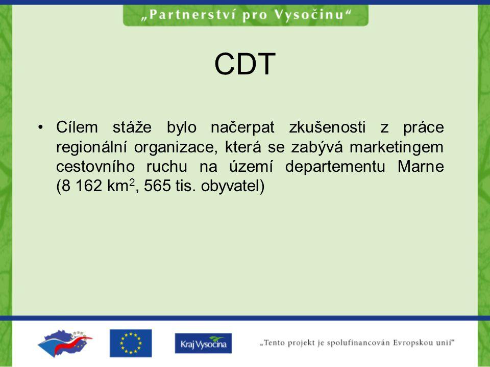 CDT Cílem stáže bylo načerpat zkušenosti z práce regionální organizace, která se zabývá marketingem cestovního ruchu na území departementu Marne (8 162 km 2, 565 tis.