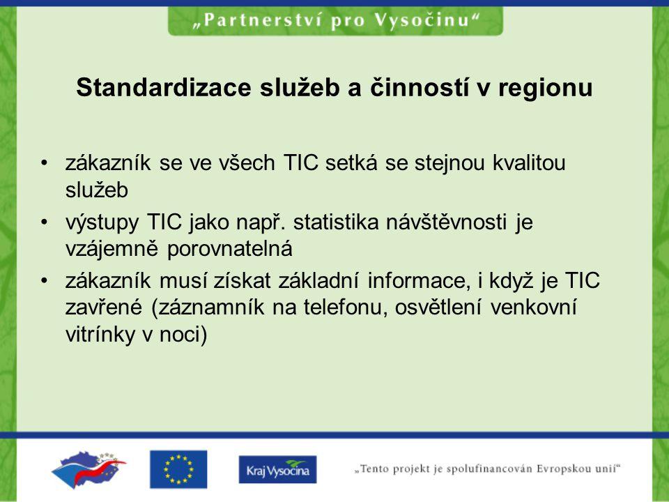 Standardizace služeb a činností v regionu zákazník se ve všech TIC setká se stejnou kvalitou služeb výstupy TIC jako např.