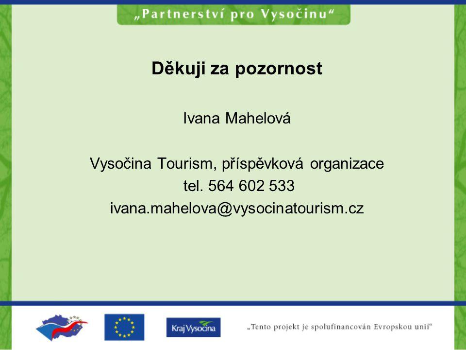 Děkuji za pozornost Ivana Mahelová Vysočina Tourism, příspěvková organizace tel.