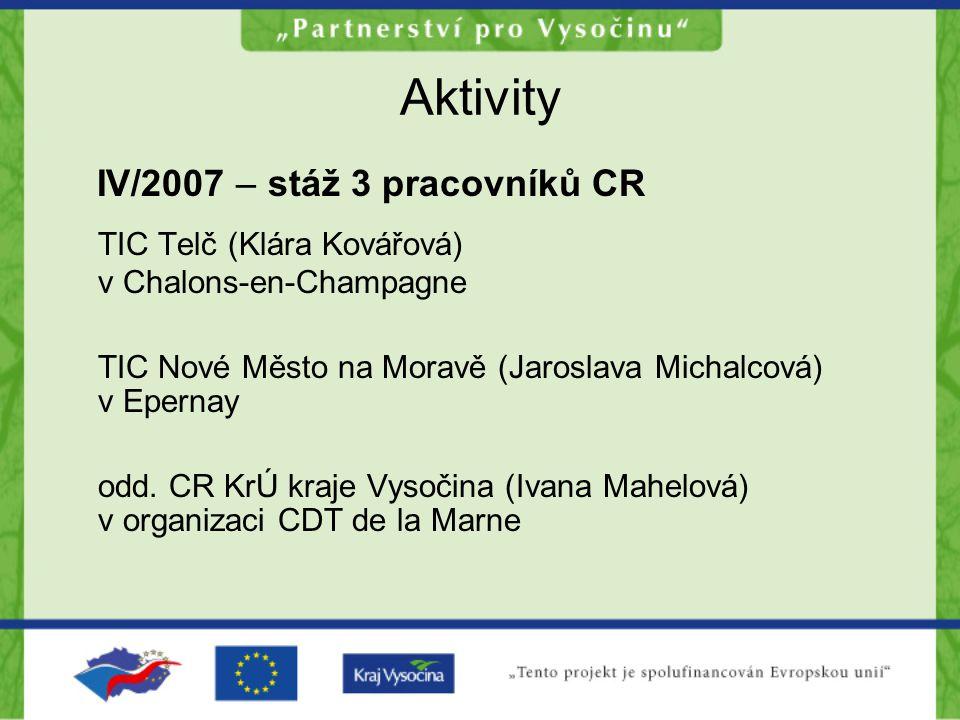 Aktivity IV/2007 – stáž 3 pracovníků CR TIC Telč (Klára Kovářová) v Chalons-en-Champagne TIC Nové Město na Moravě (Jaroslava Michalcová) v Epernay odd.