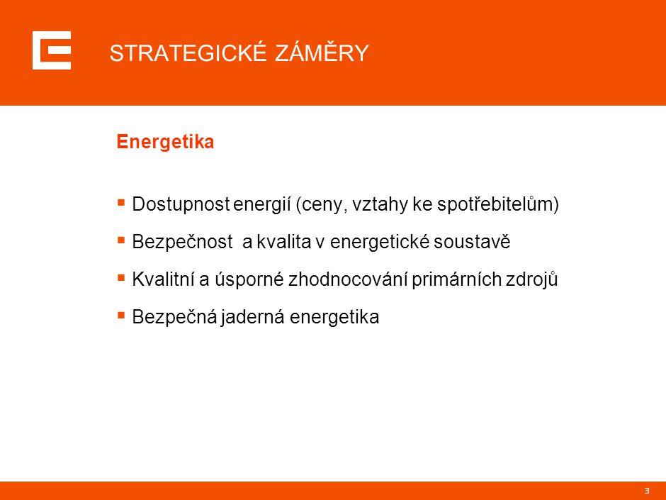 3 STRATEGICKÉ ZÁMĚRY Energetika  Dostupnost energií (ceny, vztahy ke spotřebitelům)  Bezpečnost a kvalita v energetické soustavě  Kvalitní a úsporné zhodnocování primárních zdrojů  Bezpečná jaderná energetika