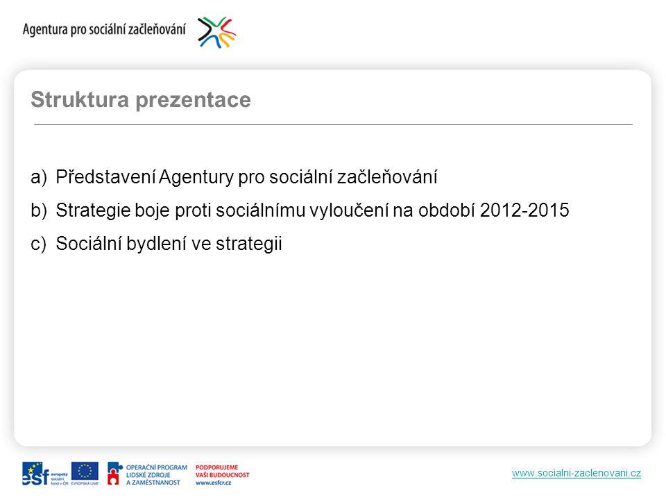 www.socialni-zaclenovani.cz Struktura prezentace a)Představení Agentury pro sociální začleňování b)Strategie boje proti sociálnímu vyloučení na období 2012-2015 c)Sociální bydlení ve strategii