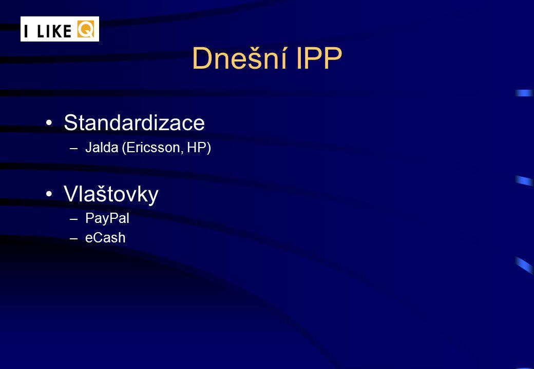 Dnešní IPP Standardizace –Jalda (Ericsson, HP) Vlaštovky –PayPal –eCash