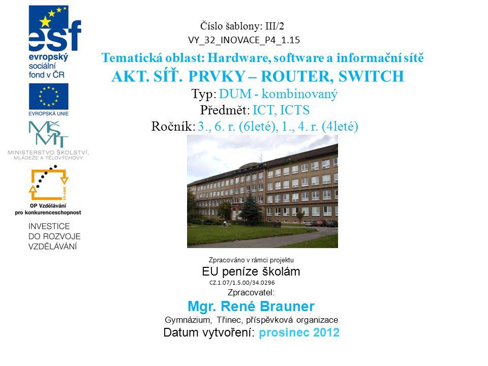 Číslo šablony: III/2 VY_32_INOVACE_P4_1.15 Tematická oblast: Hardware, software a informační sítě AKT. SÍŤ. PRVKY – ROUTER, SWITCH Typ: DUM - kombinov