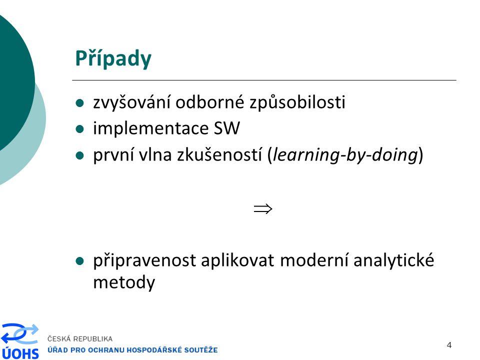4 Případy zvyšování odborné způsobilosti implementace SW první vlna zkušeností (learning-by-doing)  připravenost aplikovat moderní analytické metody