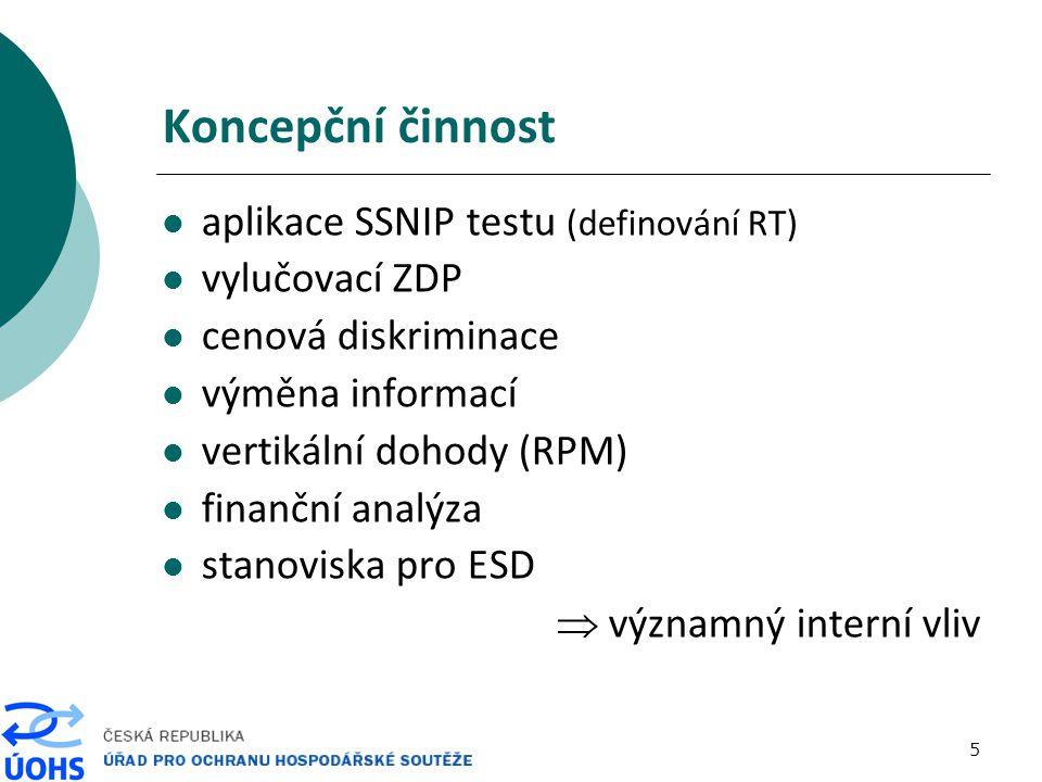 5 Koncepční činnost aplikace SSNIP testu (definování RT) vylučovací ZDP cenová diskriminace výměna informací vertikální dohody (RPM) finanční analýza stanoviska pro ESD  významný interní vliv