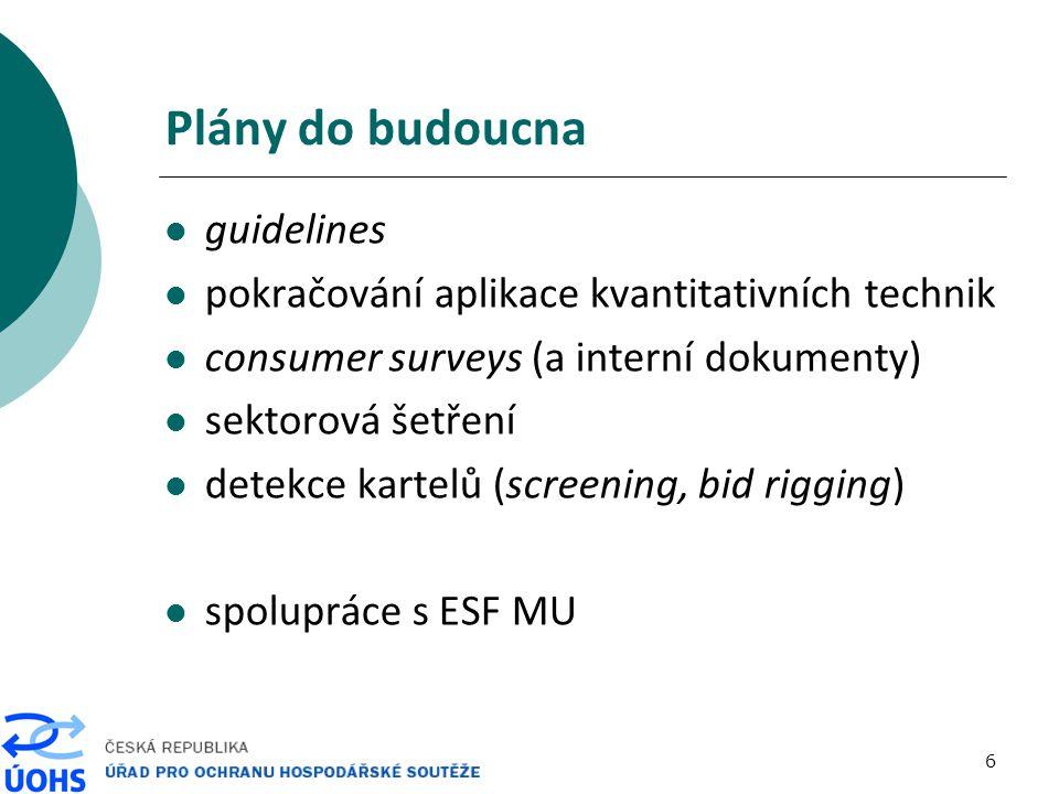 6 Plány do budoucna guidelines pokračování aplikace kvantitativních technik consumer surveys (a interní dokumenty) sektorová šetření detekce kartelů (screening, bid rigging) spolupráce s ESF MU