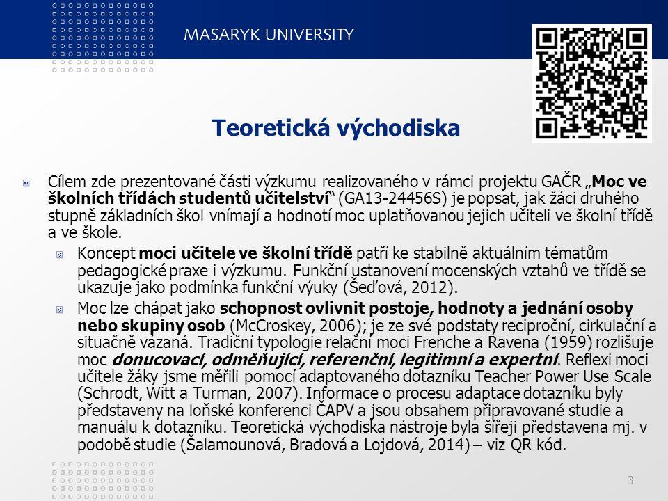 """Teoretická východiska Cílem zde prezentované části výzkumu realizovaného v rámci projektu GAČR """"Moc ve školních třídách studentů učitelství"""" (GA13-244"""