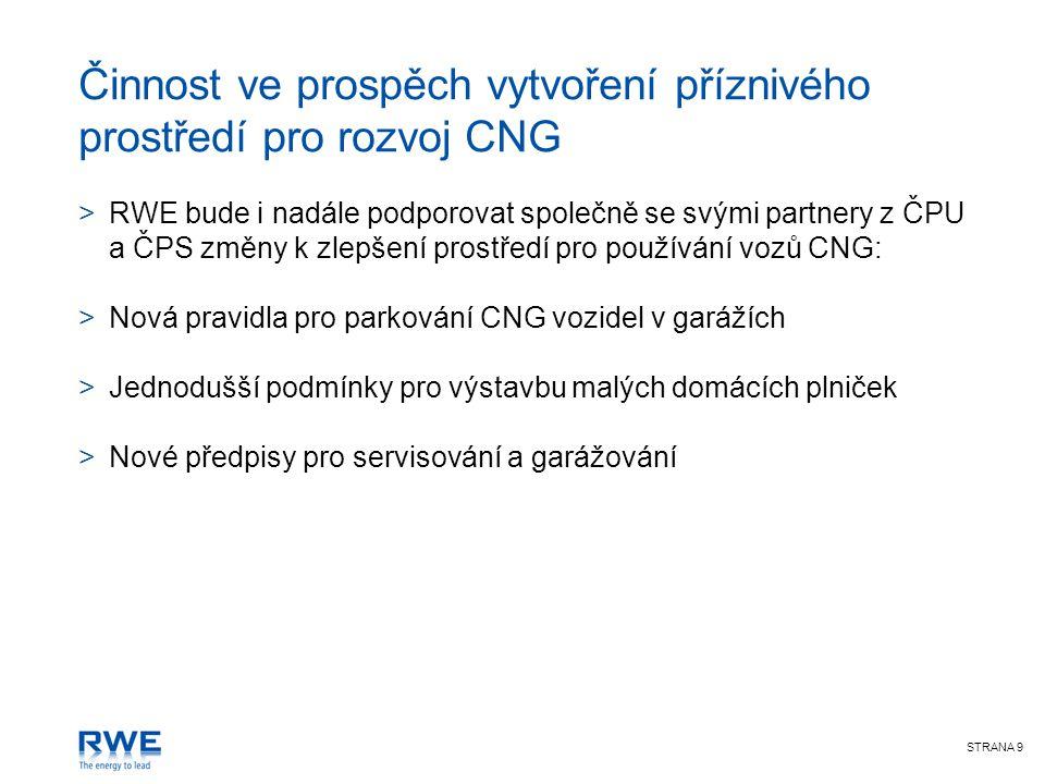 STRANA 9 Činnost ve prospěch vytvoření příznivého prostředí pro rozvoj CNG >RWE bude i nadále podporovat společně se svými partnery z ČPU a ČPS změny