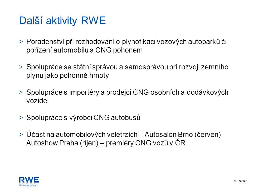 STRANA 10 Další aktivity RWE >Poradenství při rozhodování o plynofikaci vozových autoparků či pořízení automobilů s CNG pohonem >Spolupráce se státní