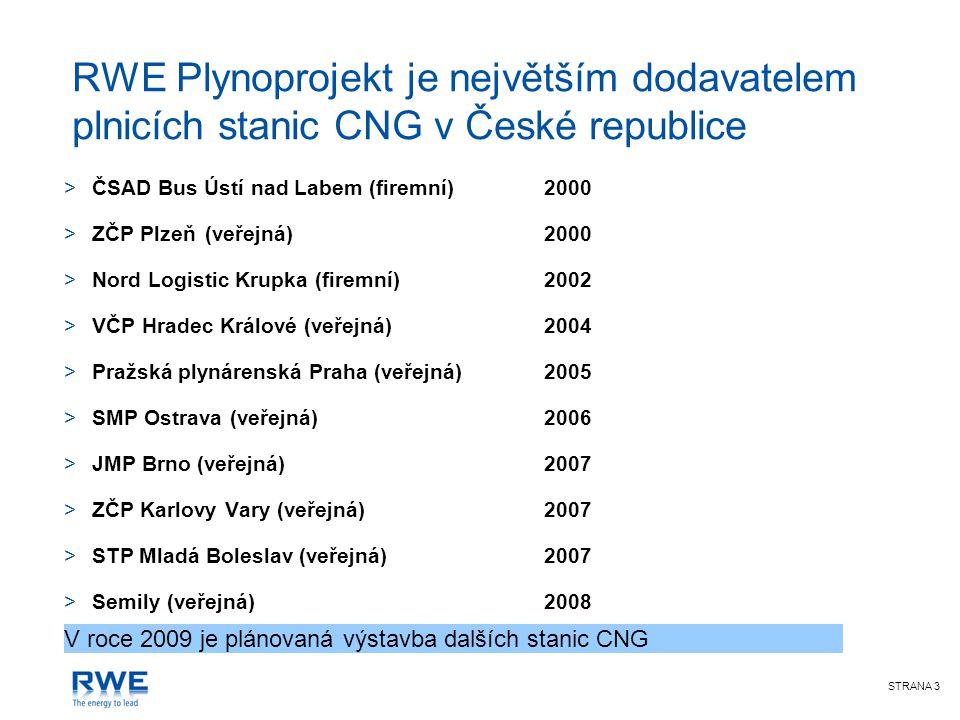 STRANA 3 RWE Plynoprojekt je největším dodavatelem plnicích stanic CNG v České republice >ČSAD Bus Ústí nad Labem (firemní)2000 >ZČP Plzeň (veřejná)20