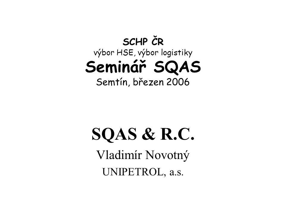 SCHP ČR výbor HSE, výbor logistiky Seminář SQAS Semtín, březen 2006 SQAS & R.C.
