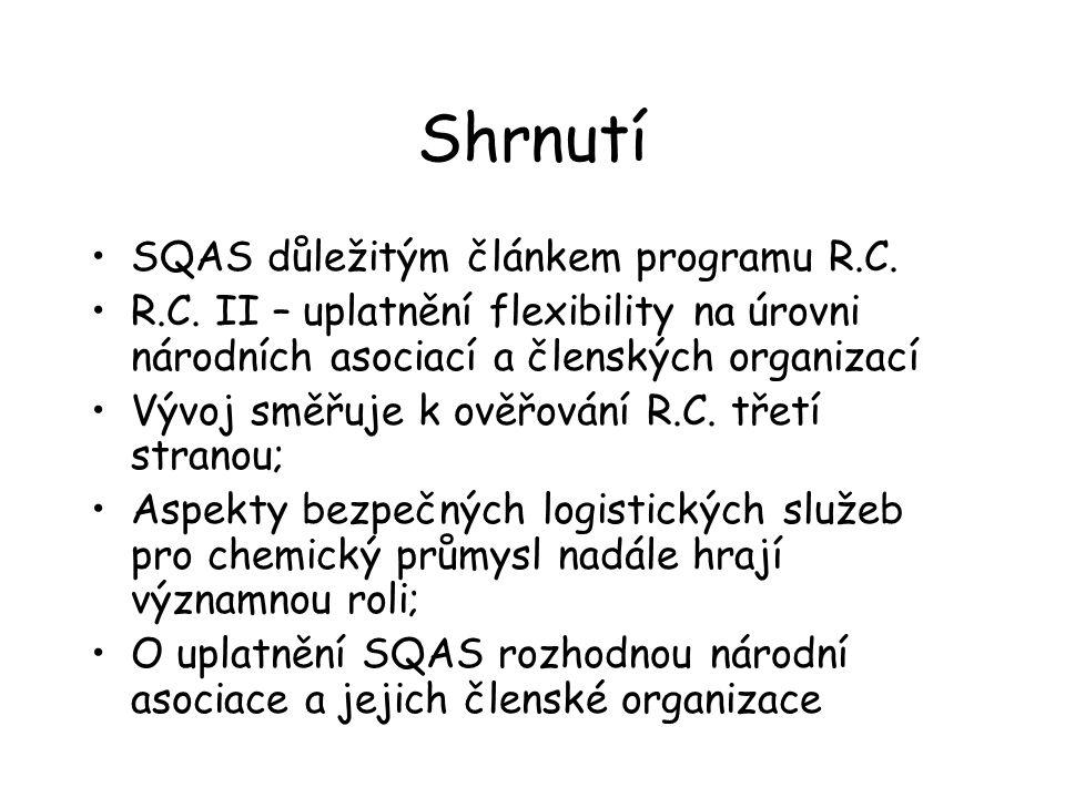 Shrnutí SQAS důležitým článkem programu R.C.R.C.