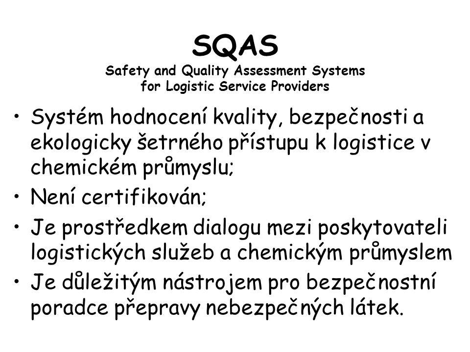 SQAS Safety and Quality Assessment Systems for Logistic Service Providers Systém hodnocení kvality, bezpečnosti a ekologicky šetrného přístupu k logistice v chemickém průmyslu; Není certifikován; Je prostředkem dialogu mezi poskytovateli logistických služeb a chemickým průmyslem Je důležitým nástrojem pro bezpečnostní poradce přepravy nebezpečných látek.