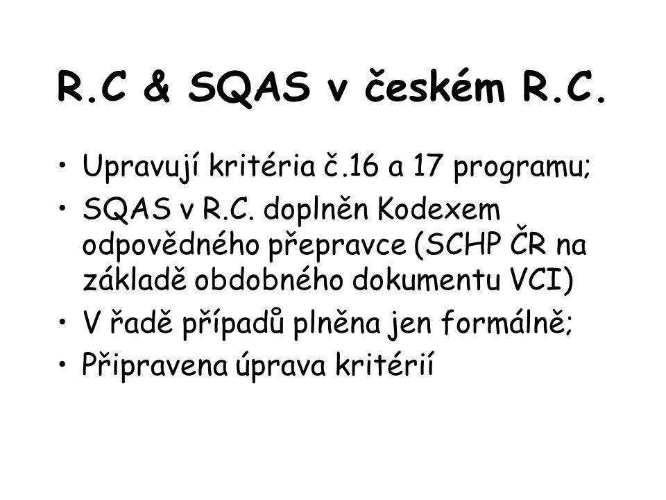 R.C & SQAS v českém R.C. Upravují kritéria č.16 a 17 programu; SQAS v R.C.