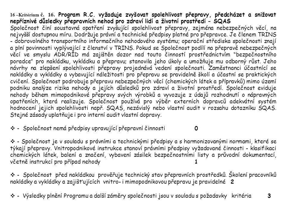 16 –Kritérium č. 16. Program R.C.