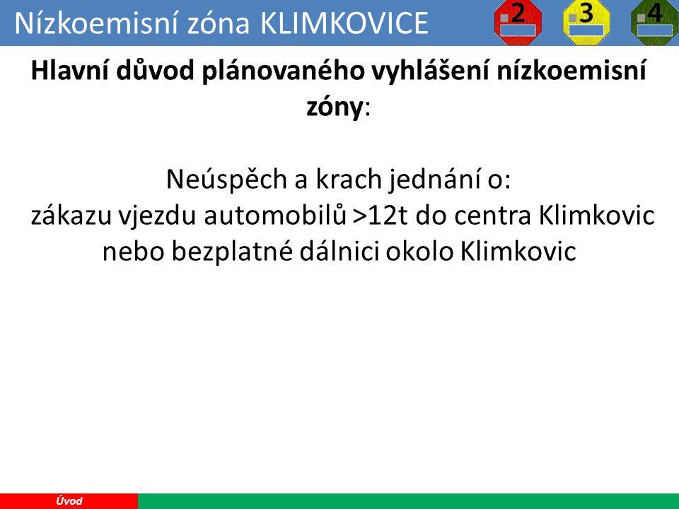 Nízkoemisní zóna KLIMKOVICE 5 Úvod Hlavní důvod plánovaného vyhlášení nízkoemisní zóny: Neúspěch a krach jednání o: zákazu vjezdu automobilů >12t do centra Klimkovic nebo bezplatné dálnici okolo Klimkovic