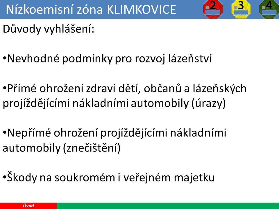 Nízkoemisní zóna KLIMKOVICE 9 Úvod Důvody vyhlášení: Nevhodné podmínky pro rozvoj lázeňství Přímé ohrožení zdraví dětí, občanů a lázeňských projíždějícími nákladními automobily (úrazy) Nepřímé ohrožení projíždějícími nákladními automobily (znečištění) Škody na soukromém i veřejném majetku