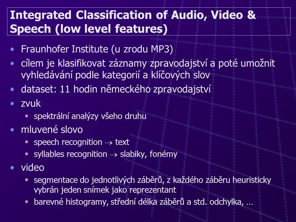 Integrated Classification of Audio, Video & Speech (low level features) Fraunhofer Institute (u zrodu MP3) cílem je klasifikovat záznamy zpravodajství a poté umožnit vyhledávání podle kategorií a klíčových slov dataset: 11 hodin německého zpravodajství zvuk  spektrální analýzy všeho druhu mluvené slovo  speech recognition  text  syllables recognition  slabiky, fonémy video  segmentace do jednotlivých záběrů, z každého záběru heuristicky vybrán jeden snímek jako reprezentant  barevné histogramy, střední délka záběrů a std.