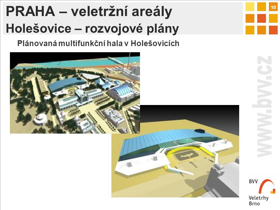 10 PRAHA – veletržní areály Holešovice – rozvojové plány Plánovaná multifunkční hala v Holešovicích