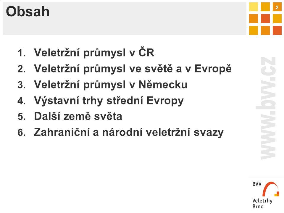 2 Obsah 1. Veletržní průmysl v ČR 2. Veletržní průmysl ve světě a v Evropě 3.